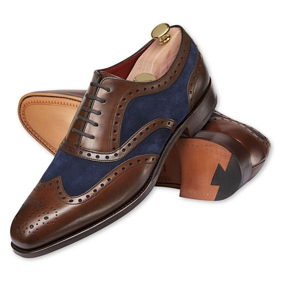 Wing Tip Brown Shoes Navy Suit