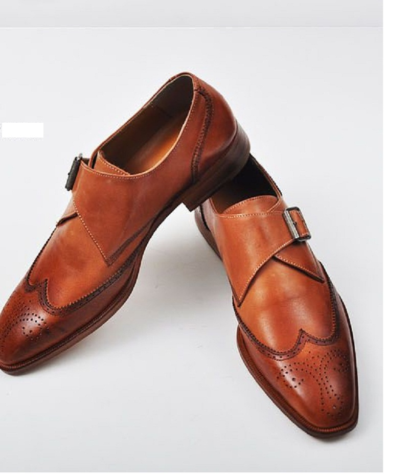 Handmade Men Tan Color Dress Shoes Mens Leather Monk Shoes Mens