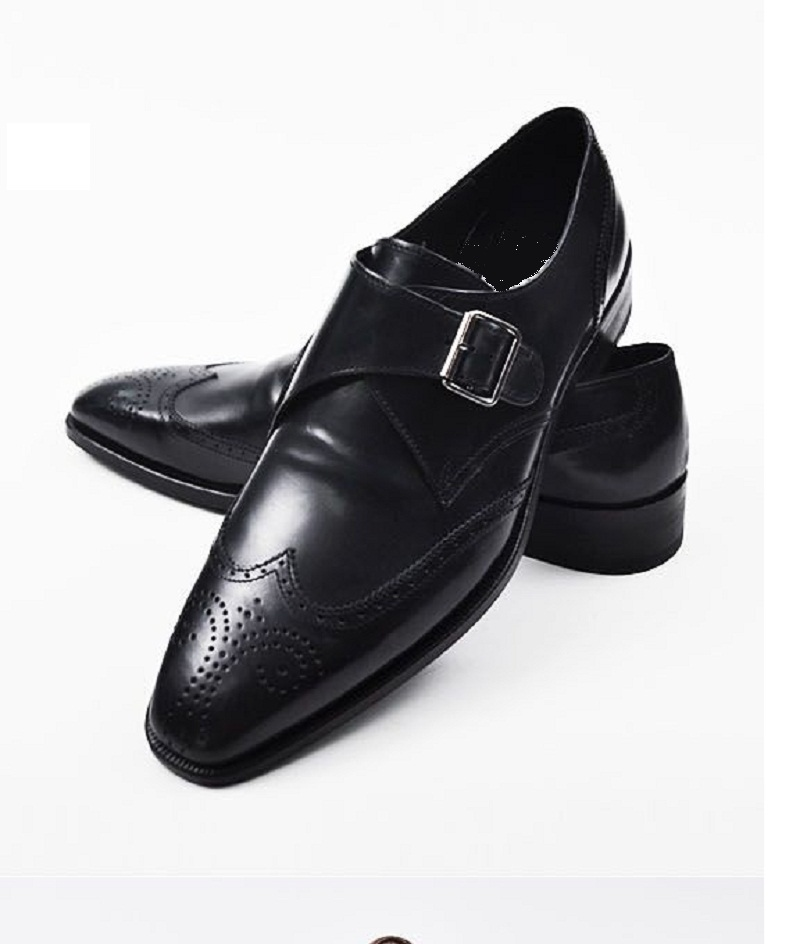Handmade Men Black Dress Shoes Mens Leather Monk Shoes Mens Formal