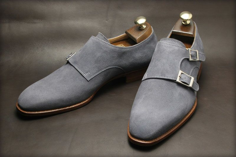 Handmade Men Gray Suede Dress Shoes Mens Suede Monk Shoes Mens