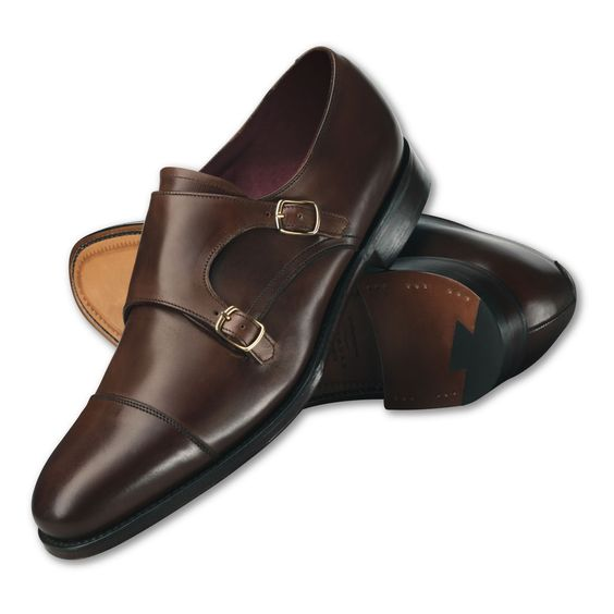 Handmade Men Dark Brown Dress Shoes Mens Leather Monk Shoes Mens