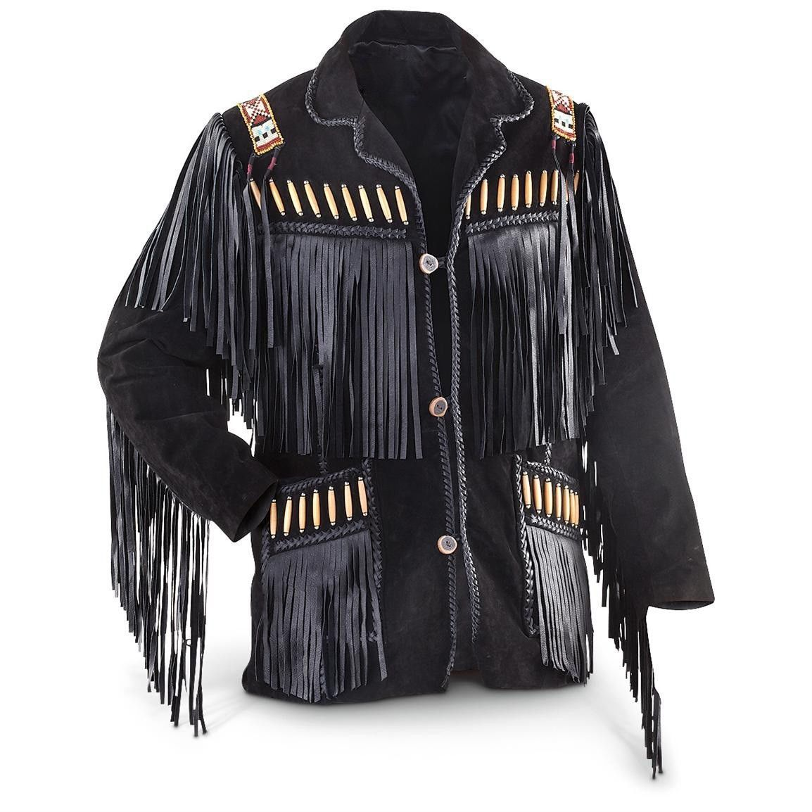 MEN'S WESTERN JACKET BLACK COWBOY LEATHER JACKET, MEN FRINGE JACKET PLUS SIZE