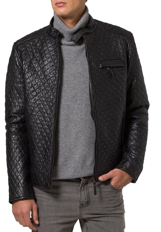 Mens Quilted Leather Jacket, New Men Quilted Motorcycle Jacket ... : mens quilted leather biker jacket - Adamdwight.com