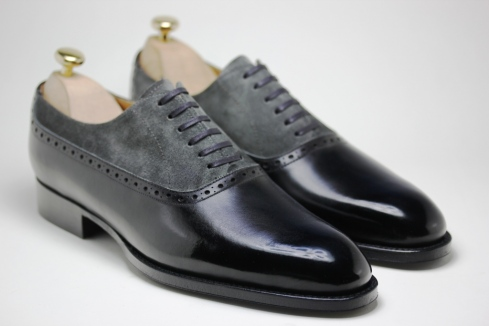 Handmade Men Two Tone Shoes Men Gray And Black Dress Shoes Mens