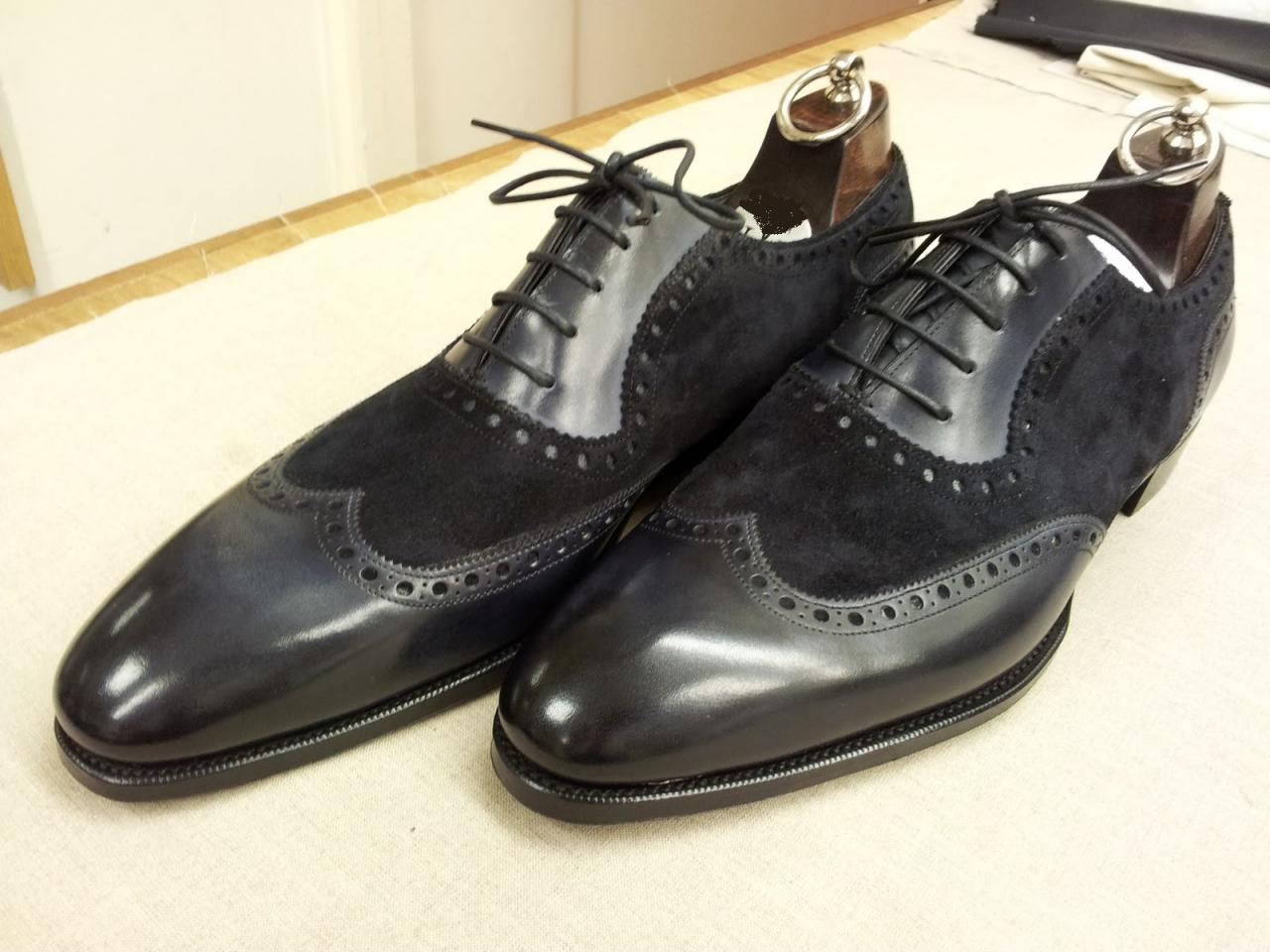 Men handmade black Oxford shoes, Men black leather and suede formal shoes, Mens dress shoes