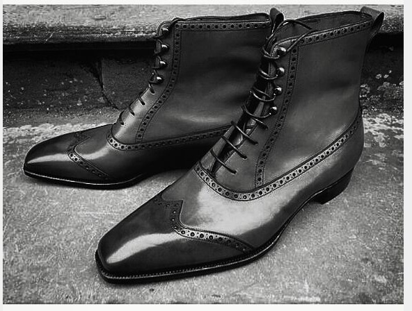 79b3e1f86f9 Handmade Men Fashion Black Color Ankle Boot, Mens Wingtip Leather Lace Up  Boot