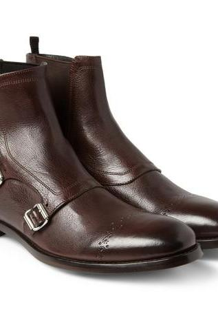 Handmade Men Triple monk leather boot, Men brown ankle boot, Men leather boot