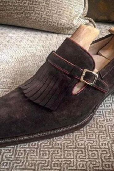 Men's Suede Monk Shoes With Tassel Front