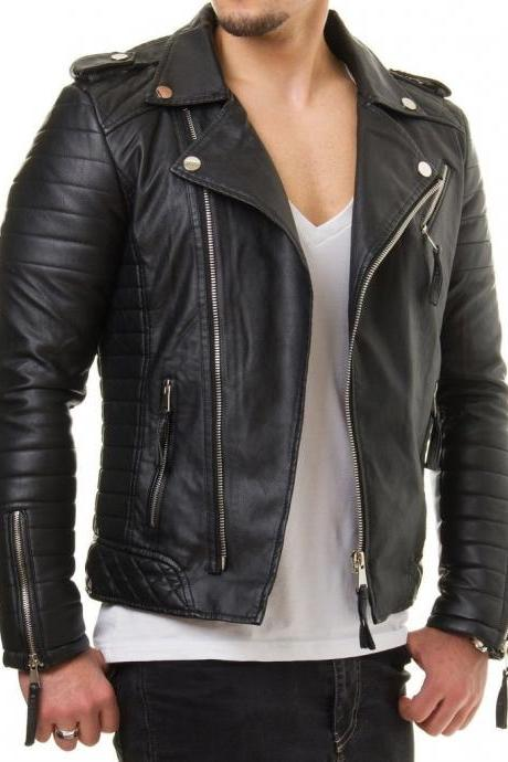 Man black biker jacket, Mens leather jackets Leather jackets for men Men jacket