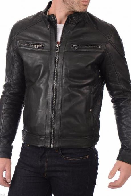 Mans black biker jacket, Mens leather jacket, Leather jackets for men Men jacket