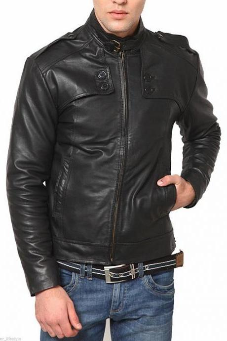 Man black belted collar jacket, Mens leather jacket, Leather jackets for men