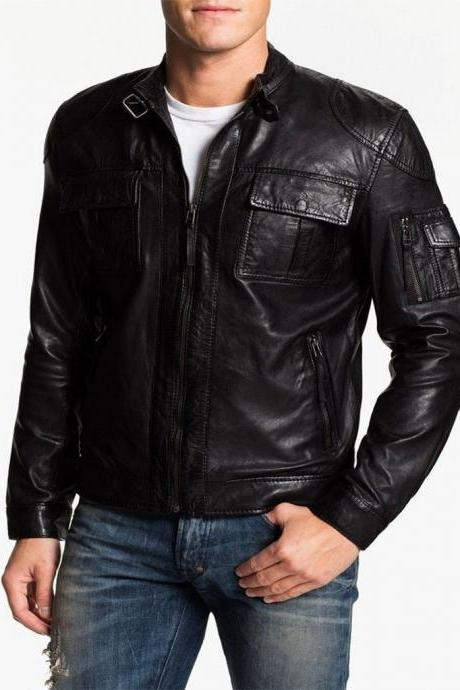 Man black biker jacket, Mens leather jacket, Leather jackets for men Men jacket