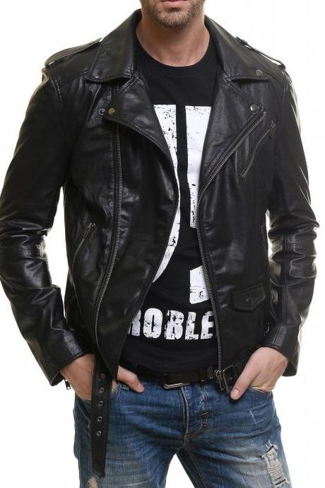 Man black biker jacket, Mens leather jacket, belted Leather jackets for men