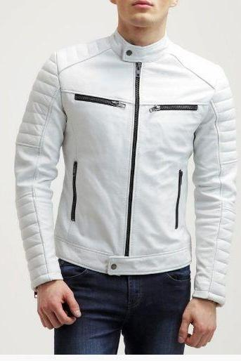 Man White biker jacket, Mens leather jacket, White Leather jackets for men