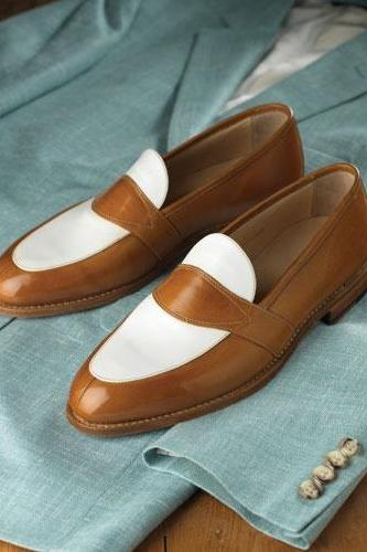 Men's Two Tone Leather Loafers