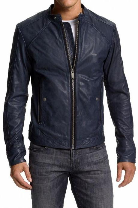 Man Navy blue biker jacket, Mens leather jacket, blue Leather jackets for men