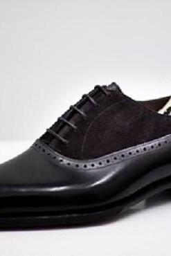 Handmade Men Black Suede And Leather Formal Shoes, Men Black Dress Shoes