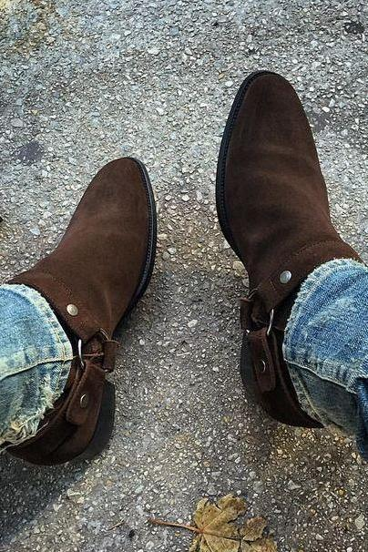 Handmade Men brown suede biker boot, Men ankle boot, Men side zipper boot