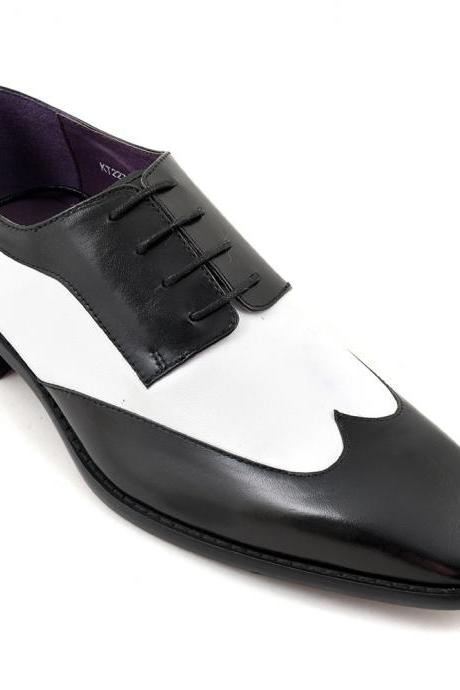 Handmade Men Tuxedo shoes, Men two tone spectator shoes, Men black and white dress shoes