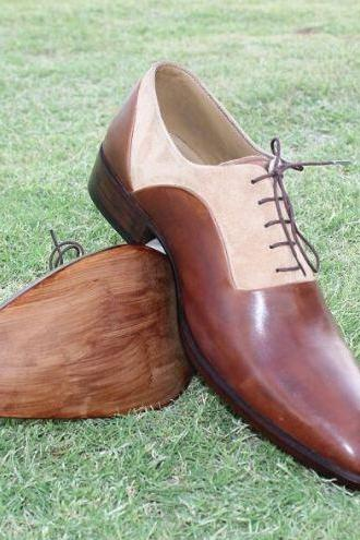 Handmade Men Two Toned Formal Shoes, Men Brown Dress Shoes, Men Shoes
