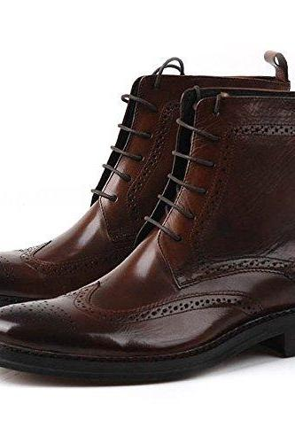 Handmade Men Brown Wingtip Brogue Ankle Dress Leather Boot Men Leather Boot