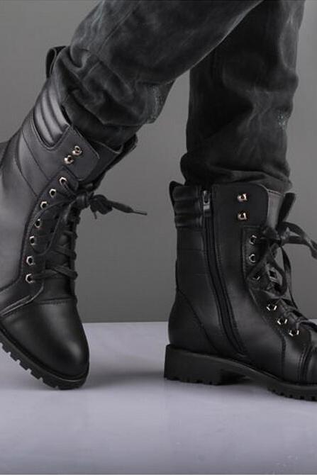 Men Black Military Style Boot, Men Combat Boot, Men Winter Boot, Mens military style Boot