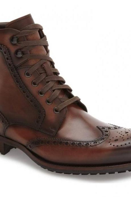 Handmade Men Wing Tip Brogue Lace Up Boot, Men Brown Ankle Leather Boot