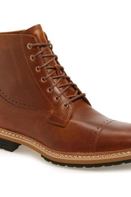 Handmade Men Lace Up Style Boot, Men Brown Ankle Leather Boot, Cap Toe Boot