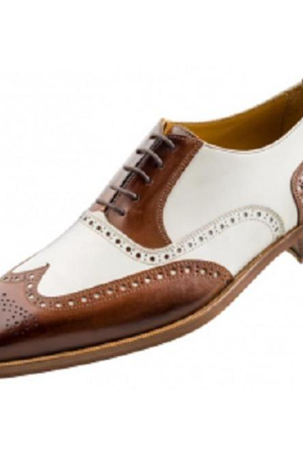 New Men Spectator Shoes, Men Brogue Wingtip Brown And White Formal Shoes