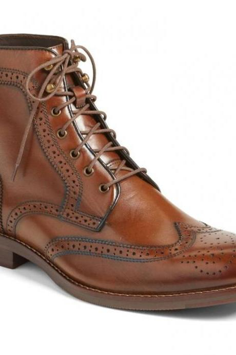 Men Brown Wingtip Brogue Lace Up Boots, Men Ankle Leather Boot, Mens Boots