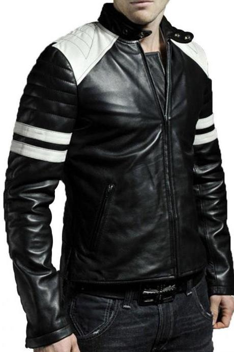 Man black biker jacket, Mens leather jacket, black motorcycle Leather jackets for men