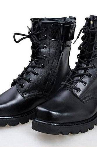New Men Black Military Boots, Men Combat Boot, Men Lace Up Boot, Mens boots