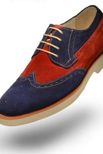 Handmade Men two tone suede leather shoes, New Men wingtip red and blue suede shoes