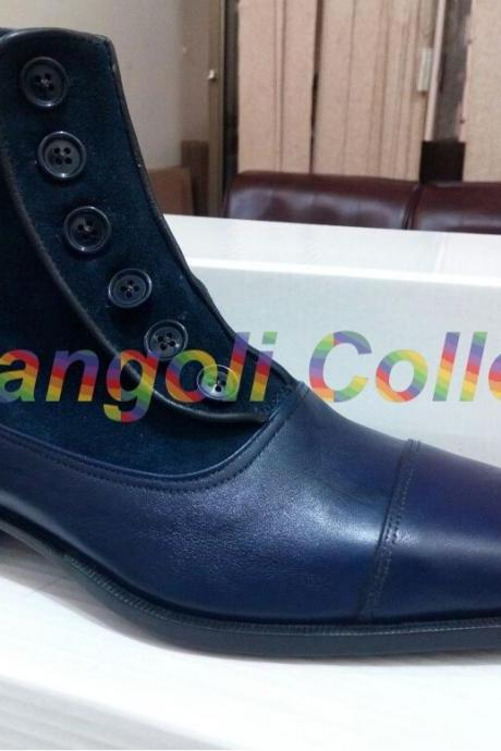 Handmade Men Button boots, Men Navy blue ankle boots, Mens boots, Leather boots