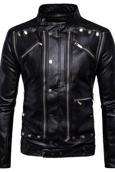 HANDMADE MENS BLACK LEATHER JACKET, MEN BLACK BIKER LEATHER JACKET