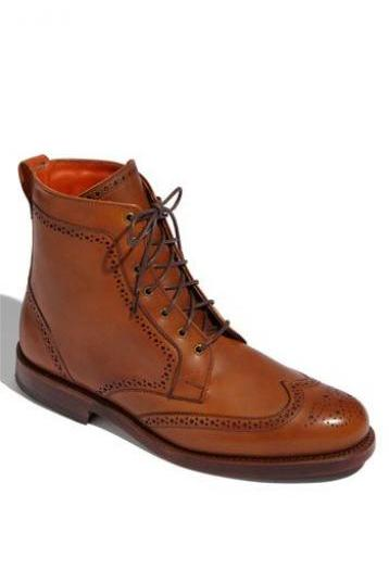 Handmade Mens Wingtip Brogue Tan Leather Boots, Men Tan ankle leather Boots for mens