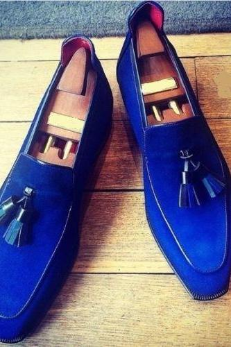 Handmade Men Royal Blue Shoes Royal Blue Loafer For Men, Formal Suede Shoes