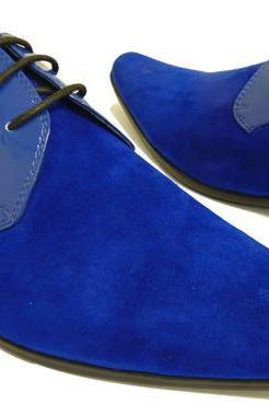 Mens Style Fashion Royal Blue Shoes, Men Derby Party Shoes, Men Blue Shoes