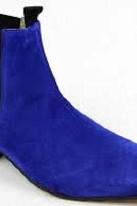 Handmade Men Royal Blue Suede Chelsea Boots, Mens Blue Fashion Chelsea Boot