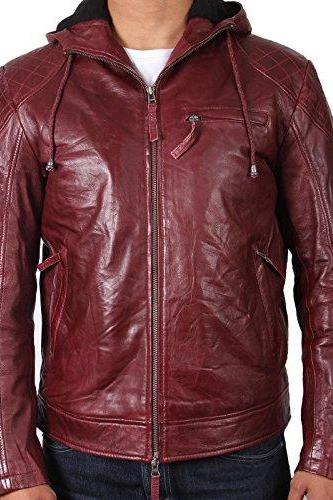 Men Maroon Hooded Leather Jacket, Men Leather Hooded Jacket, Men Jackets