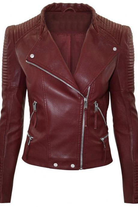 Women Maroon Color Leather Jacket Women Biker Stylish Zipper Fashion Jacket