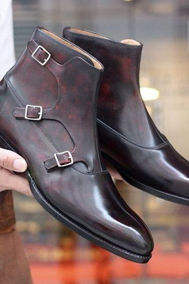Handmade Men brown triple monk Boots, Mens fashion style ankle leather boots