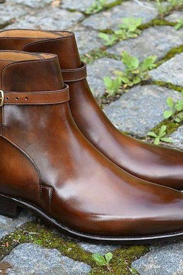 Handmade Men brown Jodhpurs leather boots, Men ankle leather boots, Men boots