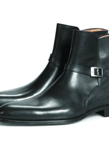 Handmade black jodhpurs Boots, Men black ankle Boots, Men genuine Leather Boot