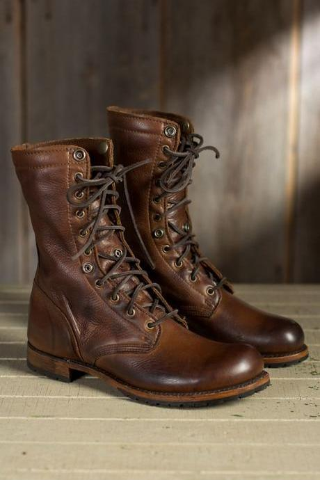 Men Brown Military Boots, Men Brown High Ankle Combat Boots, Men Boots