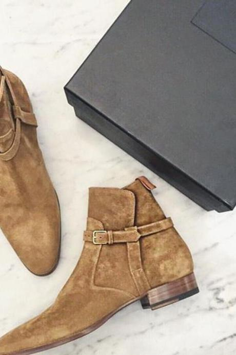 Handmade Men Beige Color Suede Jodhpurs Boots, Men Ankle Boots, Men Boots