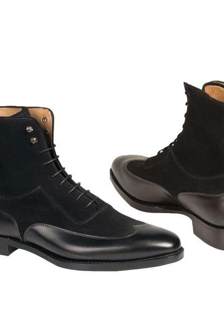 Men Fashion Black Color Wing Tip Ankle Boots,Men Suede And Leather Boot