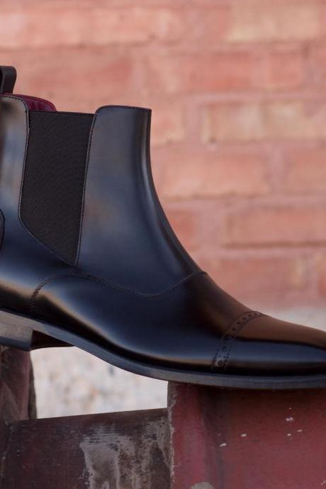 Handmade Men Black Chelsea Boots, Men Ankle Boots, Men Leather Boots