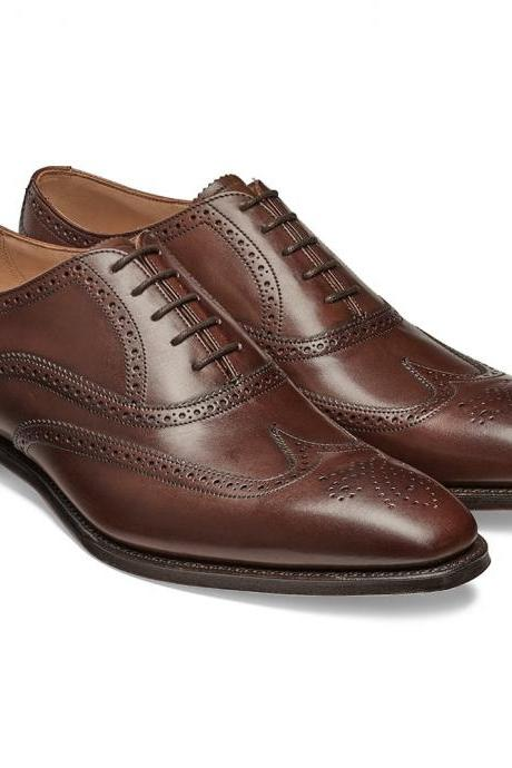 Handmade Men Brown wingtip brogue formal shoes, Men brown dress shoes Mens shoes
