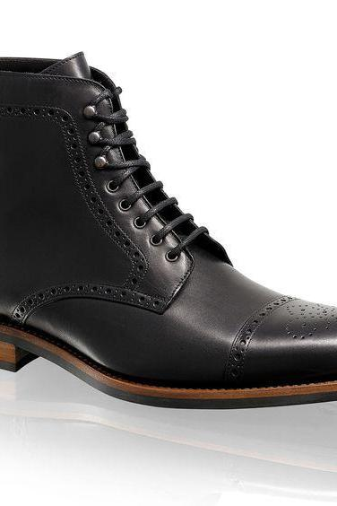 Handmade mens fashion black ankle leather boots, Men lace up boots, Men boots